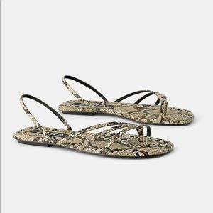 NWT's Zara Snake Skin Sandals Size 7.5 Eur 38